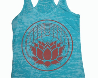 Geometric Lotus Burnout Racerback Tank Top White Red Turquoise Yoga
