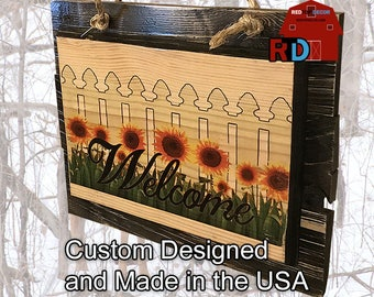 Large Rustic Natural Welcome Sign Sunflowers and White picket fence on Rustic Black Slats custom designed and built by BJ and Bailey