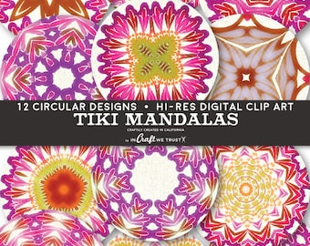 """Tiki Mandalas Digital Collage Sheet Clip Art of 12 Circle Images • 1"""" and 2""""• Commercial Use Instant Download Round Designs • JPG PNG"""