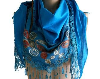 Turquoise Elegant Scarf, Turquoise Cotton Scarf, Women Shawl, Fringed Scarf, Women's Fashion, Lace scarf, Wedding Gifts, Gift ideas