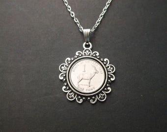 """Eritrea Wildlife Series Coin Necklace - Eritrea Antelope  1997 """"1"""" Coin Pendant in Pendant Tray"""