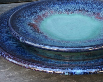Pottery Plates- ceramic tableware for salad and dinner, 'patina' glaze