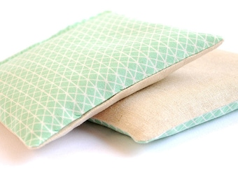 Geometric Mint & Linen Organic Lavender Sachet Set Organic Lavender Set of 2
