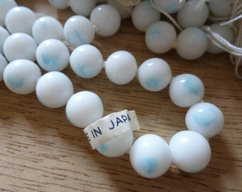 Treasury Item! 8 Vintage Japanese 10mm Touch of Blue White Glass Beads C29