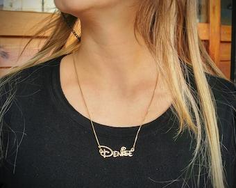 gold disney font pendant - disney jewelry - disney lovers - disney gift - disney necklace name - personalized disney necklace - disney name