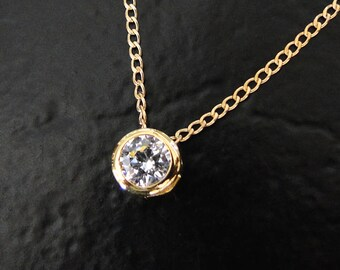 Collier diamant Solitaire CZ - 14/20Gold rempli, pendentif Slide 1 Carat