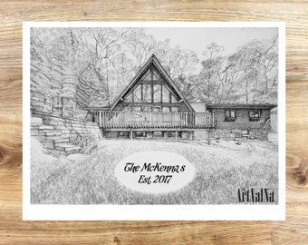 Custom House Drawing home from photo Personalized House Portrait Pen and Ink drawing home Portrait black and white commissioned art