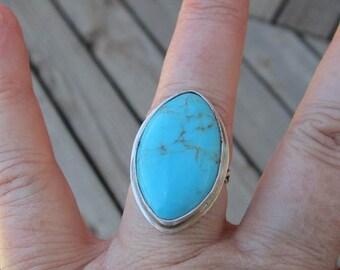 Native American inspiriert türkisen Sterling Silber Ring - Größe 6-3/4