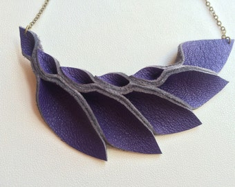 Petal Collection- Violet Leather Petal Necklace