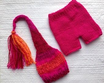 Newborn - 3 month Baby Girl Knit Outfit BaBY PHoTo PRoP Tassel SToCKiNG CaP PaNT SET Pink Orange Stripe Beanie CoMiNG HoME Pixie Elf Cap