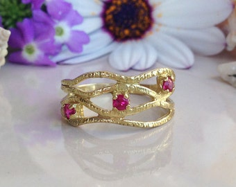 20% off-SALE!! July Birthstone Jewelry - Ruby Ring - Gold Ring - Hammered Ring - Dainty Ring - Fuchsia Ring - Simple Ring - Prong Ring