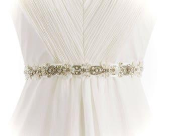 FLORA - Beaded Rhinestone Bridal Sash, Wedding Belt, Bridal Headband