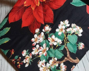 Christmas Flowers Red Poinsettia Potholders, Hot Pads, Kitchen