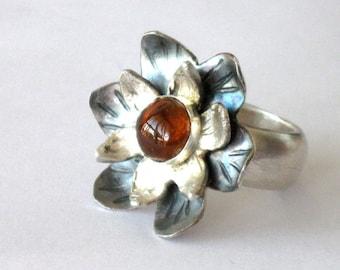 Ring Tourmaline, Silver Flower Ring, Large Ring, Modern Ring, Tourmaline Gemstone Ring, Statement Ring, Women Gift Ring, Natural Tourmaline