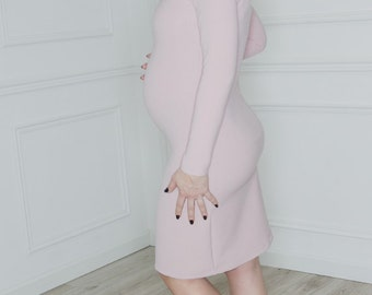 Womens pregnancy dress - Pink maternity dress - Puffy shoulders dress - Future moms dress - Maternity photo gown - Baby shower dress ND703PM