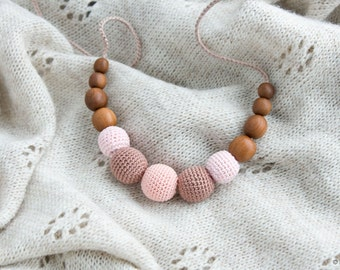 Petite Nursing Necklace - Light Pink&Mocha, Apple Wood - New Mom Baby Gift, Teething Necklace - N007