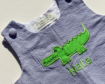 Alligator Seersucker Jon Jon with Name, personalized alligator romper, beach romper, green and blue outfit, boys seersucker outfit
