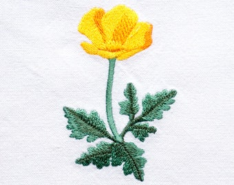 California Poppy Tea Towel | Embroidered Kitchen Towel | Embroidered Towel | Embroidered Tea Towel | Personalized Kitchen Towel | Hand Towel