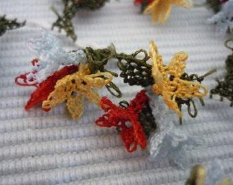 18 Hyacinth  Handmade Oya   Lace  Flower Trim