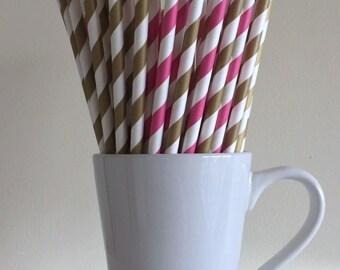 Dark Pink and Gold Striped Paper Straws Party Supplies Party Decor Bar Cart Cake Pop Sticks Mason Jar Straws  Party Graduation