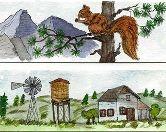 Two Original Watercolor Hand Painted Book Markers - Book Mark - Squirrel in a Tree and Farm House with Windmill - Original Art - Not a Print