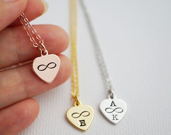 Infinity Heart Personalized Necklace infinity Necklace Heart necklace Dainty charm necklace Bridesmaid Gifts gift for her monogram jewelry