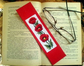 Poppy bookmark embroidery cross stitch, Flower bookmark, Book lover gift,  College student gift