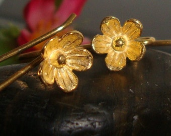 1 Pair, 26x12 mm, 8mm lotus flower, Gold Vermeil Sterling Silver Larger Lotus Blossom Floral Ear wires - EW-0026