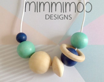 Navy & Mint Green Wood Bead Necklace