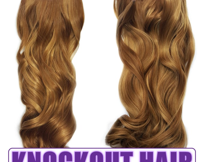 "Fits like a Halo Hair Extensions 20"" - 150 Grams 100% Premium Fiber Wavy Hair (French Cognac/Dark Golden Blonde Mix - #27R/27HY)"