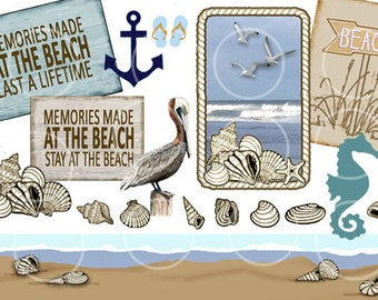 Beach Clipart, Summer Collage, Printable Tags, Shells, Pelican, Seahorse, Anchor, Border Instant Download, scrapbook clip art, craft supply