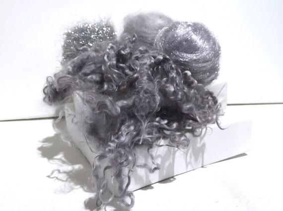 Silver spinning felting fibers, silver roving, Silver Fiber Fun Pack, silver grey, sterling, firestar, mohair locks, angelina, mohair roving