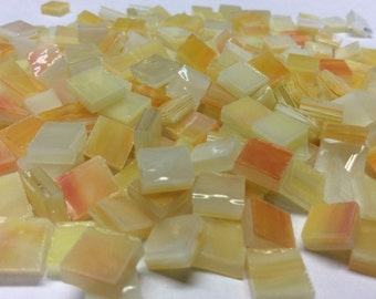 """100 1/4"""" PEARL OPAL Tiny Tiles Orange & Yellow Stained Glass Mosaic T1"""