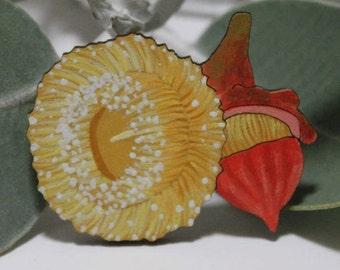 Australian Flower Brooch, Flower Pin, Painted Flower Badge, Lapel Pin, Eco Jewellery, Australian Gift, For Him, Gum Blossom, Men's Brooch