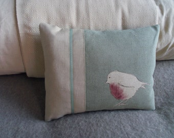 hand printed réversible eau de nil robin cushion