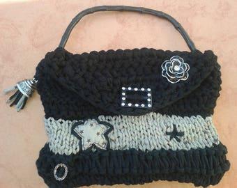 black and grey purse bead crochet stars
