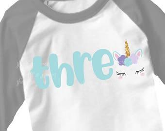 Third Birthday svg, 3rd birthday SVG, three, unicorn svg, iron on, svgs, 3 svg, birthday shirt, 3rd birthday shirt, 3rd svg
