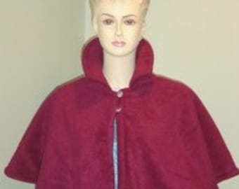 Burgundy/Burgundy Fleece Victorian Capelet/Cover Up Fully Lined/Cape-Formal-Wedding/Bridal