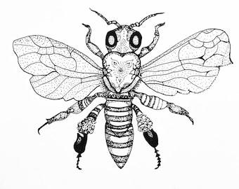 Dotwork bumble-bee