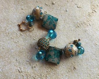 Blue Glass Bracelet, Beaded Jewelry, Beaded Bracelet, Womens Jewelry, Gift For Her, Beaded Bracelet, Beadwork Bracelet