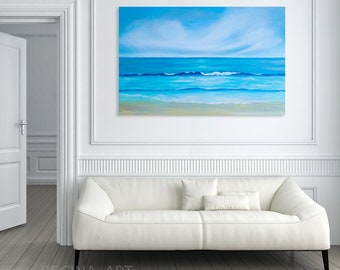 Wall Art Abstract Painting - Seascape Painting Abstract Ocean Canvas Art Large Abstract Sea Painting Modern Wall Art Blue Coastal Wall Decor