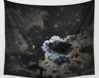 Starry Night Sky Wall Tapestry, Moon Tapestry, Night Sky Home Decor, Nature Tapestry, Wall Tapestry, Dorm, Office, Cloudy Tapestry, Black
