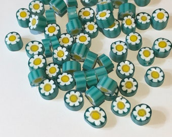 Millefiori 104 coe Murrini, NEW! Green Yellow White Flowers, 28 grams (1 oz), 7-8 mm, Best Quality Italian Glass Slices