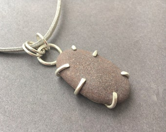 Beach Pebble Pendant, Beach Stone Pendant, Poros Collection