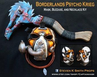 Collier et borderlands personnalisé Bandit Psycho Krieg Cosplay masque Buzzaxe