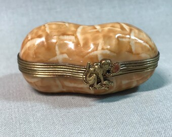 Rochard Limoges Peanut Trinket Box with Monkey Clasp