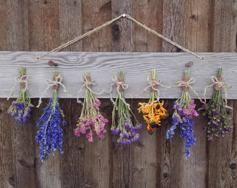 Flower and Herb Drying Rack, Barnwood Flower Drying Rack, Farmhouse Herb Drying Rack, Herb Drying Garden Gift, Dried Bouquet Wall Décor