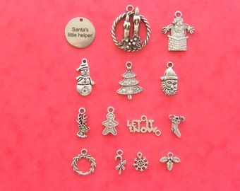 The Santa's little helper Christmas collection - 14 different antique silver tone charms CC9