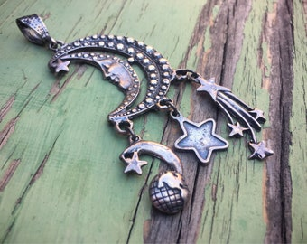 Vintage Sterling Silver Moon Pendant Celestial Jewelry, Moon Jewelry, Steampunk Jewelry