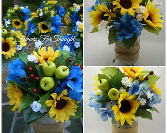 Rustic Burlap Mason Jar with Sunflowers and Hydrangea, Reception Table Centerpiece for Fall Wedding, Blue and Yellow Flower Arrangement